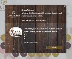 Online Advent Calender example - Callebaut