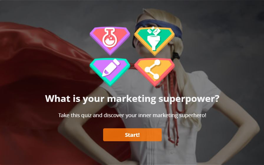 Lead Quizzes example: Qhat is your marketing superpower?