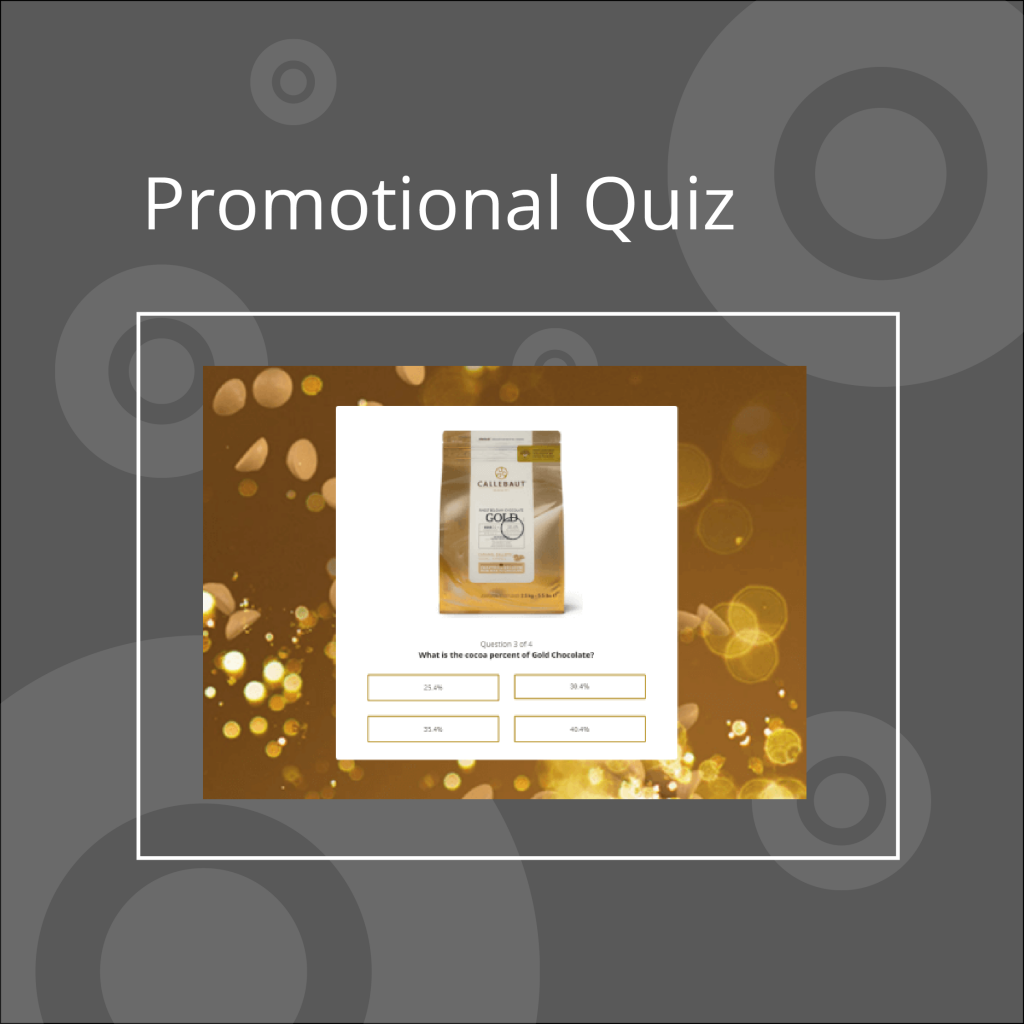 promotional quiz example and link, interactive content