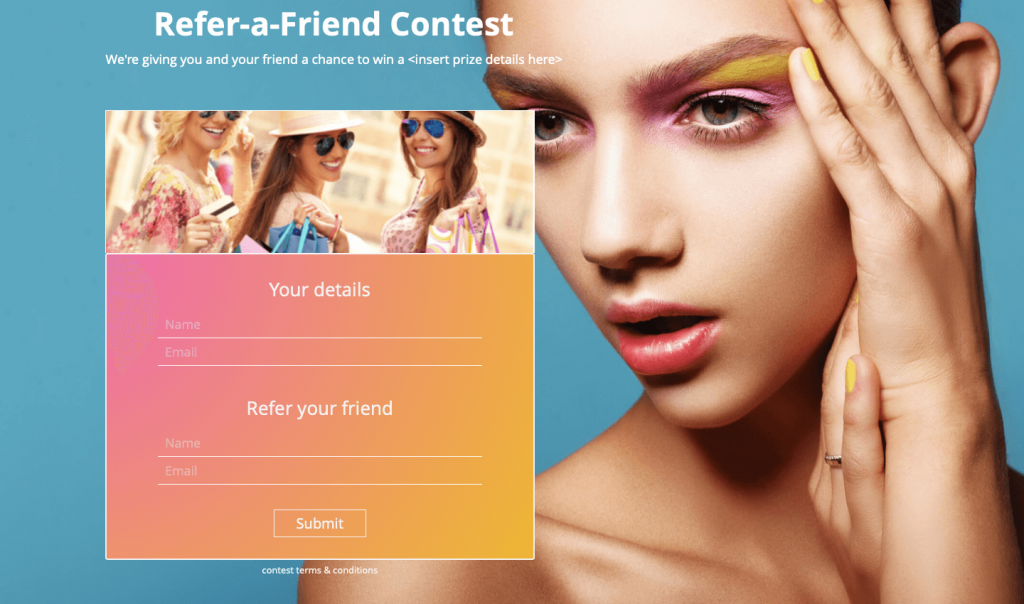 Interactive Contest Template, Refer a Friend Contest for Social Media