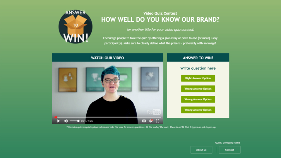 Example of an interactive video quiz