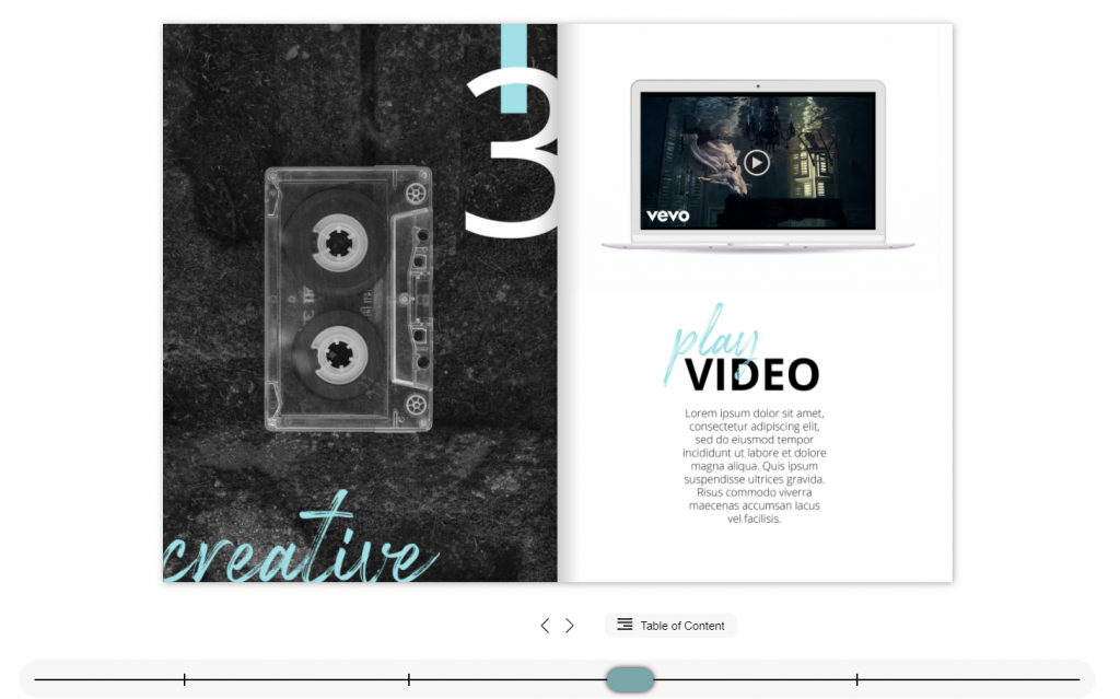 Interactive Flipbook example for the publishing industry