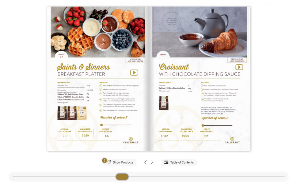 Interactive Flipbook example for the restaurant industry