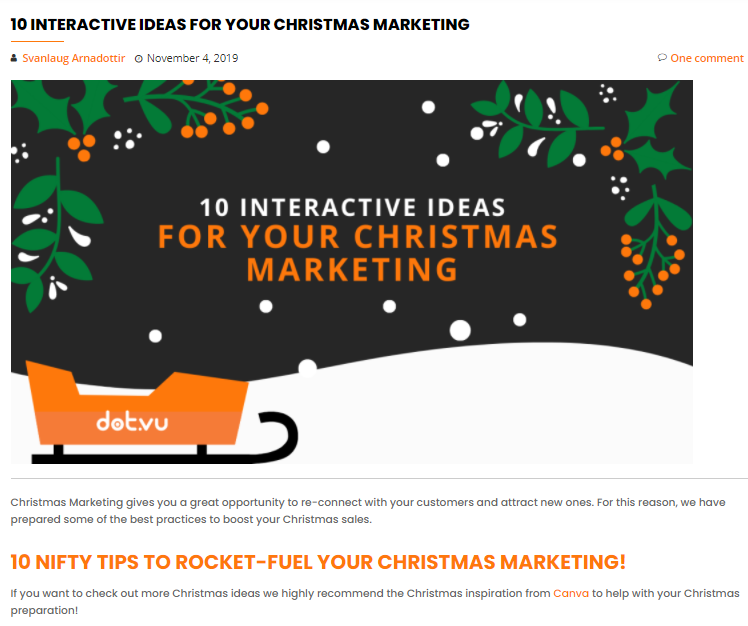"""Read the blog article """"10 Interactive Ideas for Your Christmas Marketing"""""""